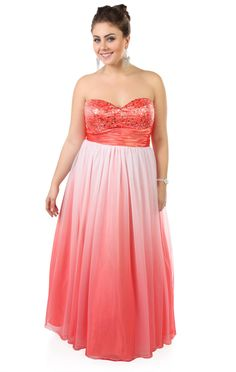 87aad833fb Deb Shops plus size  ombre sequin strapless long  prom  dress with ball gown