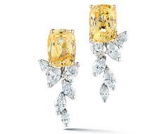 Oscar heyman cushion yellow sapphire and diamond drop earrings