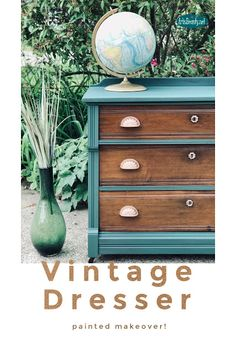 Vintage Dresser Painted makeover using general finishes westminster green milk paint makeover Diy Furniture Projects, Furniture Makeover, Cool Furniture, Painted Furniture, Refinished Furniture, Dresser Makeovers, Furniture Design, Diy Projects, Victorian Dressers