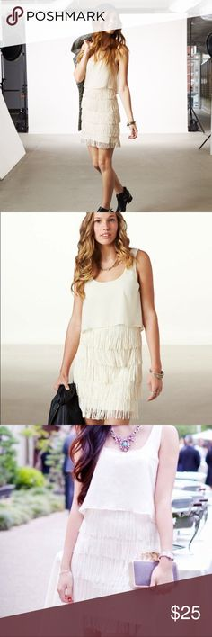 AE Fringe Tiered Dress Add a flapper flare to your go-to party look. So cute and can be dressed up or down!   Bodycon silhouette. Sheer chiffon overlay. Tonal fringe tiers.   ➳ In perfect condition  ✗ no lowballs ✗ no trades   ➳ bundle & save! American Eagle Outfitters Dresses Mini