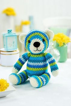 Made in a beautiful blend of blue and green aran-weight yarns, Walter the bear by Janine Holmes is amazingly simple to make – just two stitches are involved! It's a great project to practise your colour changes on and would make a lovely gift for a new arrival to the family.
