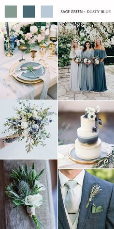Top 8 Green Wedding Color Palettes You'll Love Top 8 Green Wedding Color Palettes You'll Love sage green and dusty blue wedding color ideas - ombre blue bridesmaid dresses, sage green and dusty blue bouquets for wedding, dusty wedding cake<br> Sage Bridesmaid Dresses, Blue Bridesmaids, Bridesmaid Color, Wedding Dresses, Wedding Bridesmaids, Sage Green Wedding, Burgundy Wedding, Winter Wedding Colors, Winter Weddings