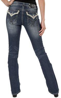 Miss Me® Women's Medium Stonewash with Skip Stitch & White Leather Edge Flap Pocket Boot Cut Jean
