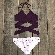 Cupshe Fall Floral Cross Bikini Set Cute bikinis shop (sold by set)