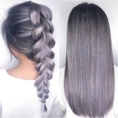 Grey/silver/lilac hair. Plait/straight.