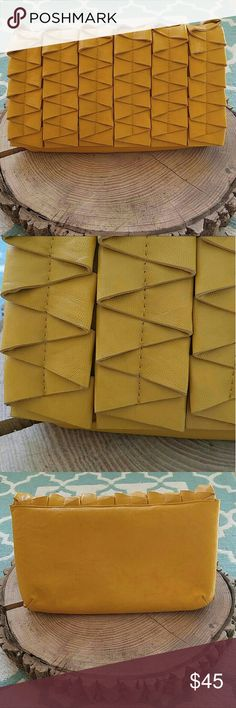 """Francesca's Collections Mustard Yellow Clutch NWOT! It has a removable chain strap and one inside pocket! It measures 10-1/2"""" x 6"""" Thanks for looking! Francesca's Collections Bags Clutches & Wristlets"""