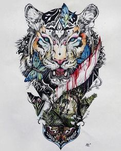 ▷ 1001 ultra cool tiger tattoo ideas for inspiration colorful drawing, tiger, butterflies, leaves, tattoo template Side Body Tattoos, Body Art Tattoos, Cool Tattoos, Bird Tattoos, Tattoo Art, Horse Tattoos, Small Music Tattoos, Tattoo Music, Tattoo Small