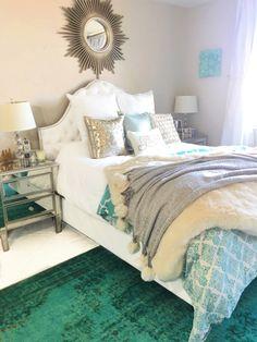 turquoise bedroom , tufted headboard, white and silver bedroom, princess bedroom http://liketk.it/2pI5w @liketoknow.it #liketkit