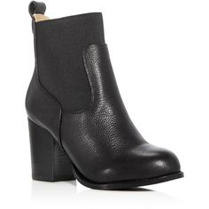 Splendid Liv High Heel Booties ($188) ❤ liked on Polyvore featuring shoes, boots, ankle booties, black, synthetic boots, black boots, black booties, black ankle booties and black faux boots
