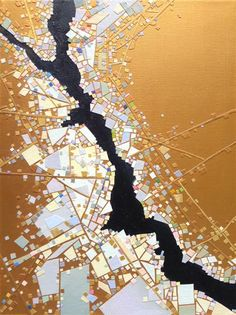 """Original art for sale at UGallery.com   Tributary by Tomo Mori   $400   mixed media artwork   16"""" h x 12"""" w"""