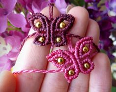 Butterfly macrame earrings with brass beads 5 colors to