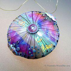 Glass Bead lampwork artisan handmade purple by manuelawutschke