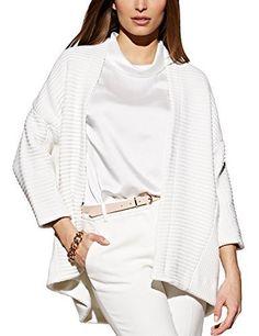 Esta  Primavera colores claros. Blanco, Jersey de gran tamaño hecho a mano.    La chaqueta blanca con apariencia estriada, la caída de los hombros.    Cuello pequeño  femenino a través de todos estos detalles, se puede combinar simplemente.