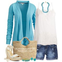 """Eyelet & Aqua"" by shannonmarie-94 on Polyvore"