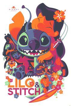 Tom Whalen Lilo and Stitch Print Poster Pixar Disney Mondo Artist Stich