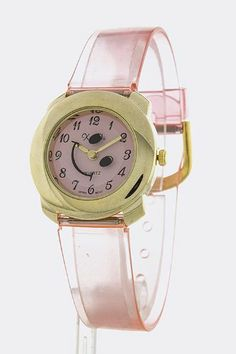 TRENDY FASHION SMILING FACE PLASTIC BAND WATCH BY FASHION DESTINATION | (Pink)