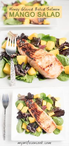Honey Glazed Baked Salmon and Mango salad is a great meal to fix the next time you're having salmon for dinner, but also want to make sure you get your fill of greens and citrus. This healthy high protein meal is one of our go to healthy dinner options. We love salads for dinner and the addition of the salmon and mango really make it a full meal. We really love the honey lime ginger dressing and the mango and citrus flavors really go well with the salmon. Fix your own Salmon Mango Salad…