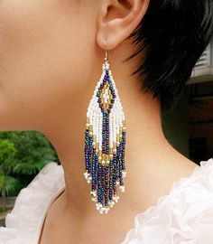 Blue-White-Golden Beaded Tassels Dangle Earrings, Handmade Multi Colors Seed Bead Long Earrings, Braided Blue Arrow Boho Earrings