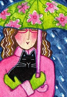 Rain or shine, Cat Lady Rachel and Sabrina will be together forever in their hearts. My entry for Illustration Friday's theme: together. Crazy Cat Lady, Crazy Cats, Gatos Cats, Cat Cards, Art Challenge, Cat Drawing, Illustrations, Cute Illustration, Cool Cats