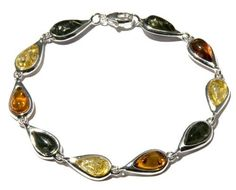 Sterling Silver Multi-Color Amber Teardrop Link Bracelet Amazon Curated Collection. $106.00. The natural properties and composition of mined gemstones define the unique beauty of each piece. The image may show slight differences to the actual stone in color and texture. Genuine, untreated amber; wash with warm water and soap. Gemstones may have been treated to improve their appearance or durability and may require special care.