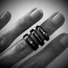 Titanium Rings black color, with turning and diamonds