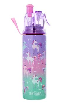 The double wall design of this Smiggle drink bottle helps keep your water cooler for longer. It has a pop top spout, misting function, and carry handle! Dia cm X H cm. Little Girl Toys, Toys For Girls, Stainless Steel Drink Bottles, Unicorn Water Bottle, Unicorn Room Decor, Baby Doll Nursery, Unicorn Fashion, Cute Water Bottles, Cool School Supplies