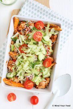 Kip shoarma schotel met zoete aardappel - Mind Your Feed