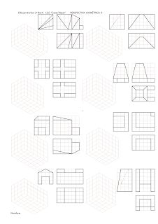 losmuertosdeldiedrico: PERSPECTIVA ISOMÉTRICA-croquis Drawing Lessons, Isometric Drawing Exercises, Orthographic Drawing, Geometric Drawing, Technical Drawing, Projects To Try, Sketch, Tapestry, Drawings
