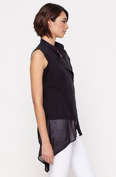 EILEEN FISHER BLACK ZIP UP ASYMMETRIC TOP Black Zip Ups, Asymmetrical Tops, Eileen Fisher, Designers, Women, Fashion, Moda, Women's, La Mode