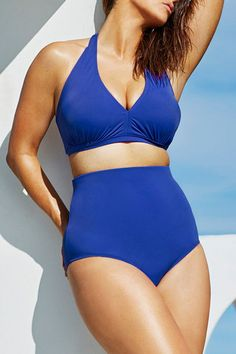 Big'n'Bold Solid Blue High-Waisted Halter Bikini Swimsuit