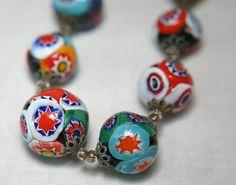 Handmade Millefiori Beads Necklace Vintage by JewelrybyLuAnn, $160.00