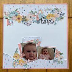 Baby Girl Scrapbook, Kids Scrapbook, Scrapbook Paper Crafts, Scrapbook Albums, Scrapbook Cards, Scrapbook Layout Sketches, Scrapbooking Layouts, Rainbow Card, Baby Girl Cards