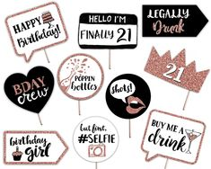 Birthday Printable Photo Booth Props - Rose Gold Black and White - 10 Hand Painted Signs - Finally 21 Party by brighterprints on Etsy Classy 21st Birthday, Twenty First Birthday, Girl Birthday, 21st Birthday Ideas For Girls Turning 21, Birthday Signs, Birthday Cards, Happy Birthday, Birthday Photo Booths, Birthday Photos