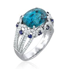 Coleus 18k White Gold Ring ~ Featuring a blue zircon of 9.36ct, accented with 1.32ct ideal cut diamonds by YAEL DESIGNS.