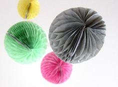 At home: paper pom poms.