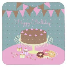 Chocolate cake girl birthday party square paper coaster