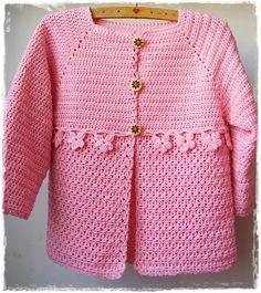 Sidney Artesanato: Modinha. cardigã rosa d crochet com PAP