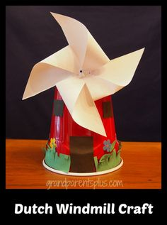 Windmills are a traditional icon for the Netherlands often seen on all sorts of souvenirs. This project is great for elementary school-age children. Around The World Crafts For Kids, Around The World Theme, Holidays Around The World, Summer Camp Crafts, Camping Crafts, Rv Camping, Cute Crafts, Diy Crafts, School Age Crafts