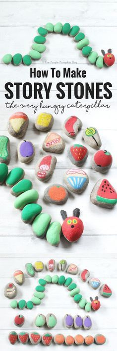 How To Make Story Stones! This is a fun way to tell and make up stories with children. Paint objects and characters onto stones and use them to tell a favourite story - like the beloved Very Hungry Caterpillar! Or a classic fairy tale like The Three Littl Story Stones, Chenille Affamée, Purple Pumpkin, Crafts For Kids, Arts And Crafts, Bug Crafts, Rock Crafts, Classic Fairy Tales, Three Little Pigs