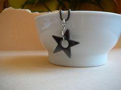 Hematine star pendant necklace on gunmetal by CreationsChantal, $15.00