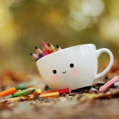 Color with me? by *lieveheersbeestje on deviantART, simple Kawaii mug design. Kawaii Diy, Kawaii Cute, Deco Pastel, Desu Desu, Cute Cups, All Things Cute, Cute Wallpapers, Tumblers, Cute Pictures