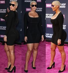 Amber Rose shows her ample assets in a little black dress