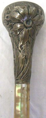 Old Antique Hull Sterling Silver MOP Floral Umbrella Cane Walking Stick Handle |