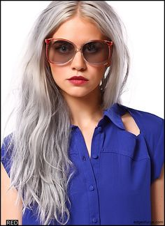 Loving this edgy look combined with her silver chic waves
