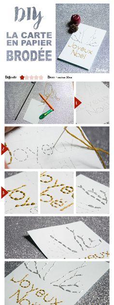 DIY Paper things// Carte brodée   Dehlya