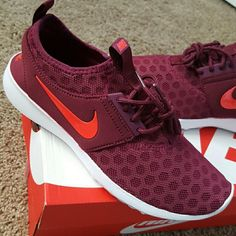 Womens Nike Juvenate Sneakers These are new and have not been worn, only to try on. I received these in the wrong size and never got around to exchanging them within the required time. I love that they feel super comfy and stylish and can be worn casually around town and not just in the gym. The box says it is a deep garnet/bright crimson color. To me it is like a burgundy-ish color with orange check marks. Womens size 8.5! This listing is only for the sneakers, the legging set is not…