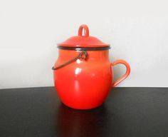 French red Can enameled metal and black edge  vintage red