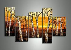 Landscape Painting, Birch Tree Painting, Acrylic Painting Landscape, Living Room Wall Art Paintings Hand Painting Art, Texture Painting, Acrylic Painting Canvas, Large Painting, Texture Art, Acrylic Art, 5 Piece Canvas Art, Large Canvas Art, Large Art