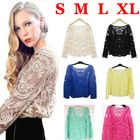 Fashion Sexy Women Sheer Sleeve Embroidery Shirt Blouse Floral Lace Crochet Tee T-Shirt Tops Plus Size Clothing Drop Shopping(China (Mainlan...
