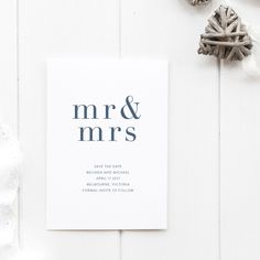 Save The Date / Engagement Wedding Invitation - Cotton Card - Mr and Mrs Save The Date Invitation - simple and modern rustic save the dates by JakbernCreative on Etsy